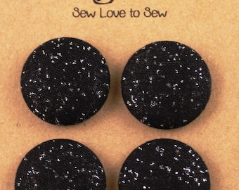 Fabric Covered Button Magnets / Black Sparkle Magnets / Strong Magnets / Refrigerator Magnets / Fridge Magnets