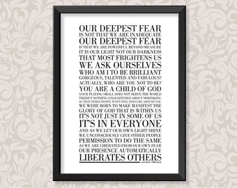 Our Deepest Fear by Marianne Williamson (print in 5 colourways and 2 sizes: A4 and A3)