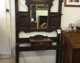 Late 19th century carved oak hallstand