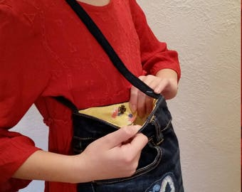 Butterfly SEQUIN Embroidered Pocket Purse with smartphone pocket from Upcycled jeans