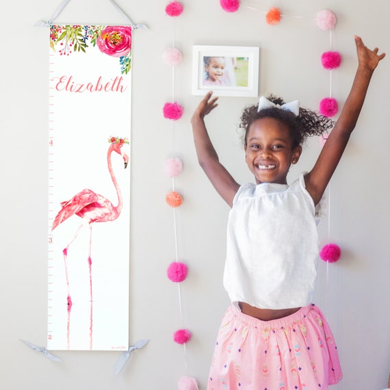 Hot Pink Flamingo canvas growth chart