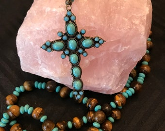 Turquoise & Tiger Eye Five Decade Rosary Necklace