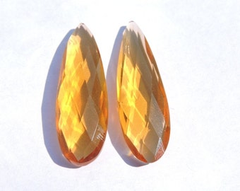 2 Pcs Matched Pair Very Beautiful Citrine Quartz Faceted Long Pear Shaped Loose Gemstone Size 45X12 MM