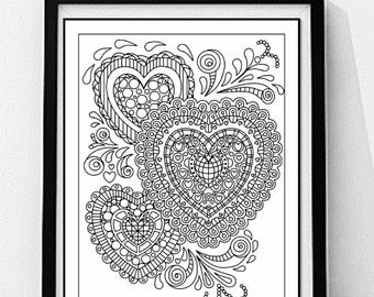 Hearts Coloring Page. Decorative Coloring Page, Adult Coloring Page, Printable Wall Art, Gift for Women