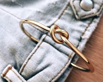 Knot Bracelets / Bangle Cuff Bracelets / Gold, Rose Gold Silver Plated Brass / Stacked Bracelets