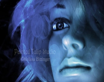 Surreal Bewitched Spellbound Mannequin Woman Indigo Blue, Black, Aqua,  Fine Art Photography Print or Gallery Canvas Wrap Giclee