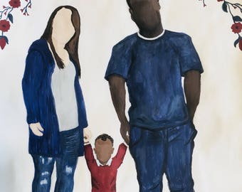 Detailed Faceless Watercolor Family Portrait on quality watercolor paper.