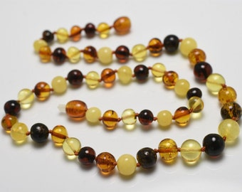 BALTIC AMBER Baroque Beads Multi-Color Round Beads Necklace 11.6 Grams 19""