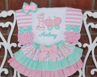 4 pc. Girls Butterfly Birthday Outfit! Baby girl first birthday outfit! Mint and pink outfit with applique top, skirt, leg warmers, and bow