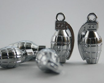 10 pcs Zinc Silver Tone Grenade Charms Pendants Decorations Findings 13 mm. SPGN
