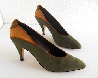 vintage 1980s pumps, forest green and mustard suede, by Sesto Meucci *** PRICE REDUCED***