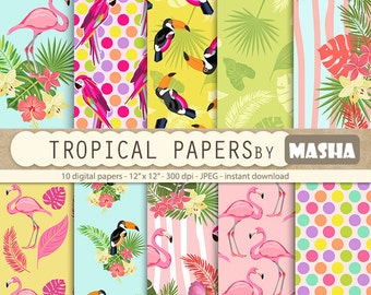 """Flamingo papers: """"TROPICAL DIGITAL PAPERS"""" with flamingo patterns, exotic digital paper, toucan pattern, parrot print, tropical patterns"""