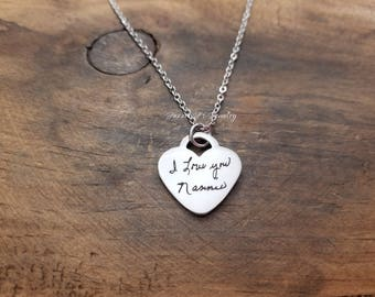 Handwritten Necklace, Actual Handwriting Jewelry, Engraved Handwriting, Personalized Signature Jewelry, Handwritten Engraving, Gift For Her