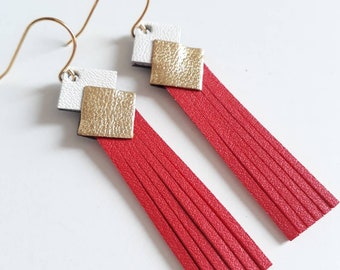 """Leather Earring """"mini fringe"""" red-white-gold plated clip gold jewelry woman made manually customizable"""