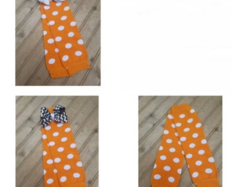 Orange polka dot baby leg warmers
