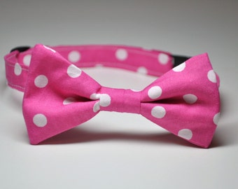 Boy's Bow Tie Pink Polka Dot Bowtie LOTS of COLORS AVAILABLE