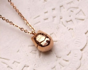Rose Gold Filled Japanese Lucky Cat Pendant Charm Necklace