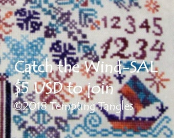 Catch the Wind Mystery SAL -Quaker motifs/whimsical sea creatures/sailing boats/fish/loch ness monster/whale/cross stitch/counted thread.