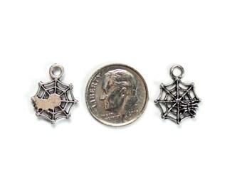 8 Antique Silver Small Spiderweb Charms