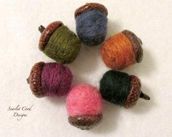 Acorns, Felted Acorns, Fall Decoration, Natural Acorn Caps, Set of Six