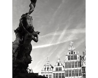 Antwerp Print, Belgium Photography, Brabo Fountain, Fine Art Print, Wall Art, Black and White Decor, Grote Markt - The Fall of Antigoon
