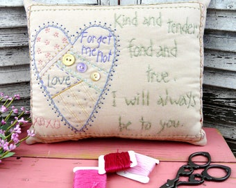 Kind & tender pillow - embroidery valentine heart fabric home decor room handmade
