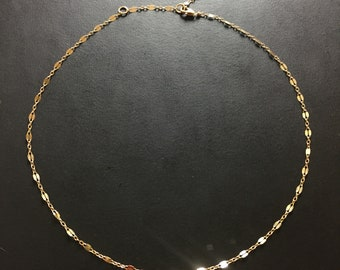 Gold layering necklace -sequin chain - 14k gold fill