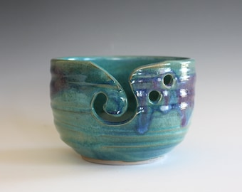 "Yarn Bowl, 6"" width, knitting bowl, crochet bowl, pottery yarn bowl, handmade ceramic yarn bowl, READY to Ship"