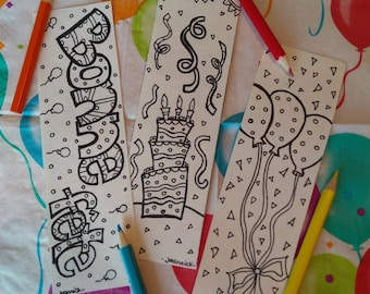 Trio bookmarks coloring party, kids birthday, happy birthday, coloring, drawing