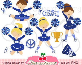 Blue & White Cheerleader Digital Clipart Set for -Personal and Commercial Use-paper crafts,card making,scrapbooking,web design