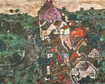 Egon Schiele: Landscape at Krumau. Fine Art Print/Poster. (003228)