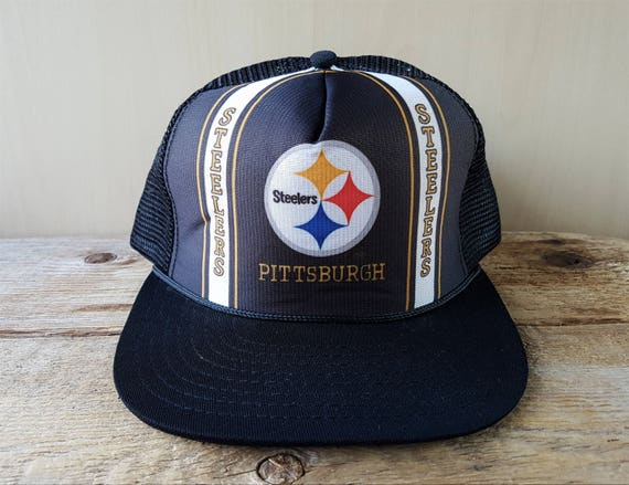 4592563c160 ... ebay pittsburgh steelers original vintage new era snapback hat black  mesh trucker pro model basebll cap