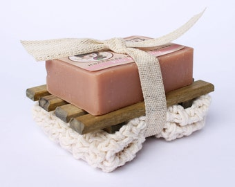 Soap Gift Set Cotton Washcloth Soap Dish Gift For Her