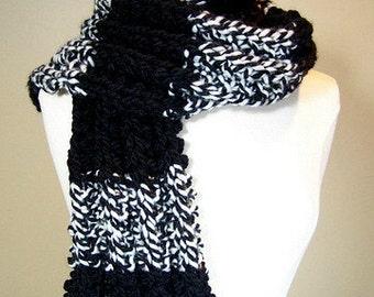Black Cream Big Knit Black Ribbed Scarf, Chunky Knit Rib Knit Striped Scarf, Long Black Knit Scarf, Warm Knit Scarf Men Women, Stripe Scarf