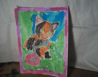 Watercolor Calico Kitten
