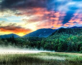 Sunrise Photography, Red Sky, Sunrise Photograph, Lake Placid, Adirondack Mountains, Connery Pond, Nature Photo, Adirondack Art, Home Decor