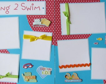 Premade 12x12 Scrapbook Pages -- LEARNING 2 SWIM layout -- SwiMMinG LeSSonS - boy or girl, summer, baby, swimming pool, like a fish