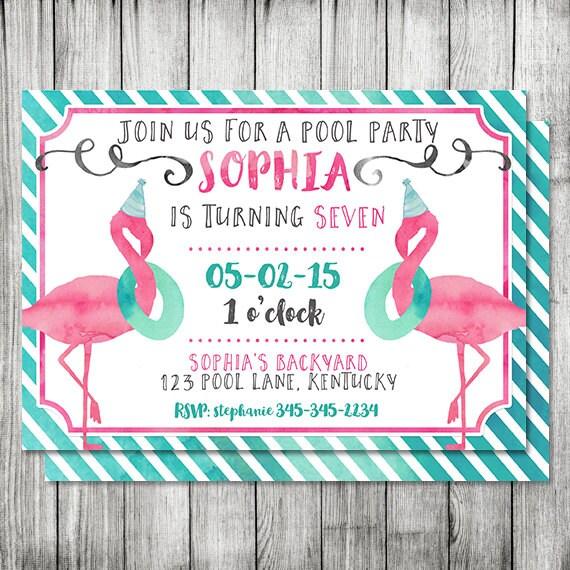 Aquarel Flamingo Pool Party Verjaardag Uitnodigen Meisje
