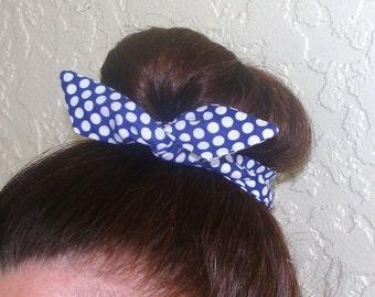 Bun Wrap, Top Knot Wire Wrap Blue with White Polka Dots