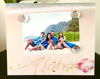 Aloha Hawaii Pink Plumeria - Magnetic Picture Frame Handmade Gift Present Home Decor by Frame A Memory Size 9 x 11 Holds 5 x 7 Photo