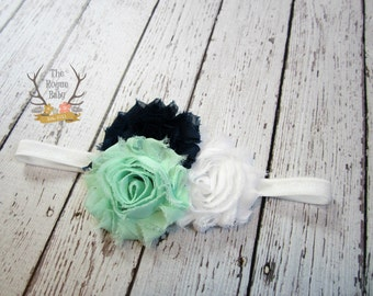 Mint Green White & Navy Headband - Newborn Infant Baby Toddler Girls Adult Wedding Spring New Baby