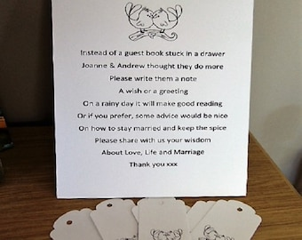 Wedding wishing tree with tags, Guest Book Sign, Wedding, Wish Tree Poem, Wishing Tree Tags,  Instructions Sign , Customise For Your Event