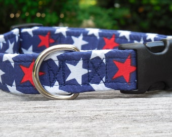 4th of July Red White & Blue Stars Dog Collar (Buckle)