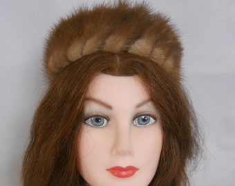 Fur Pillbox Hat, Mink, Latte Brown