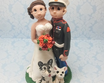 Military Wedding Cake topper, Custom wedding cake topper, personalized cake topper, Bride and groom with dogs cake topper, Mr and Mrs topper