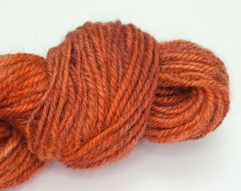 Ember - 192 yards handspun wool yarn burnt orange 2ply multiple skeins DK weight