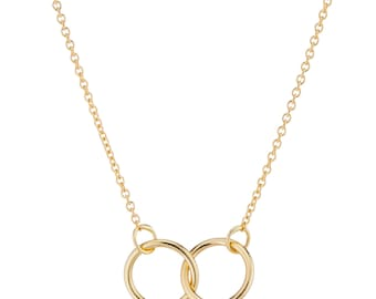 14K Gold Necklace, Interlocking Rings Necklace, Gift for Her, Dainty Necklace, Available in rose and white gold made in 1-3 business days