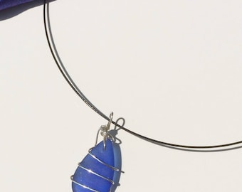 Cobalt Sea Glass Wire Wrapped Pendant Necklace