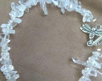 Quartz Crystal Bracelet with Dragonfly