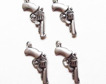4 charms pistol gun metal silver 30 mm